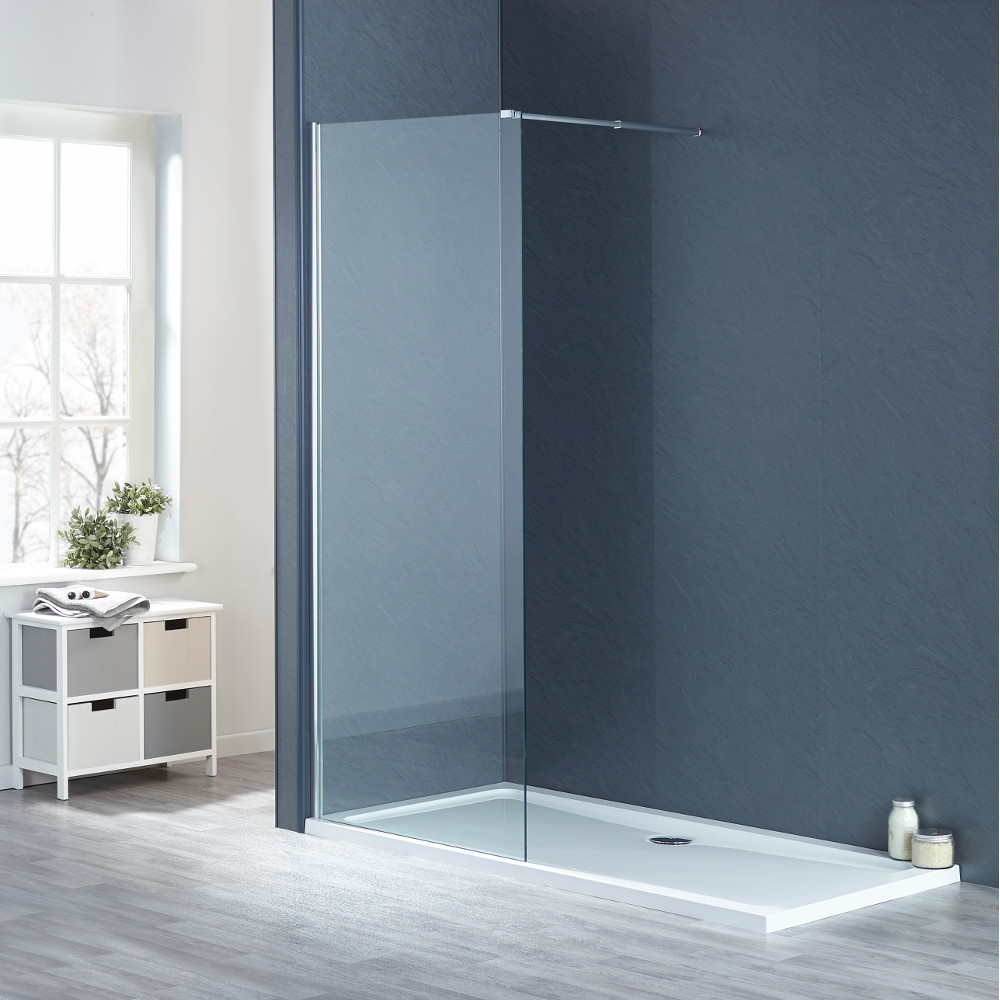 1600mm x 800mm Wetroom Shower Screens Shower Enclosure and Shower Tray  (Includes Free Shower Tray Waste)