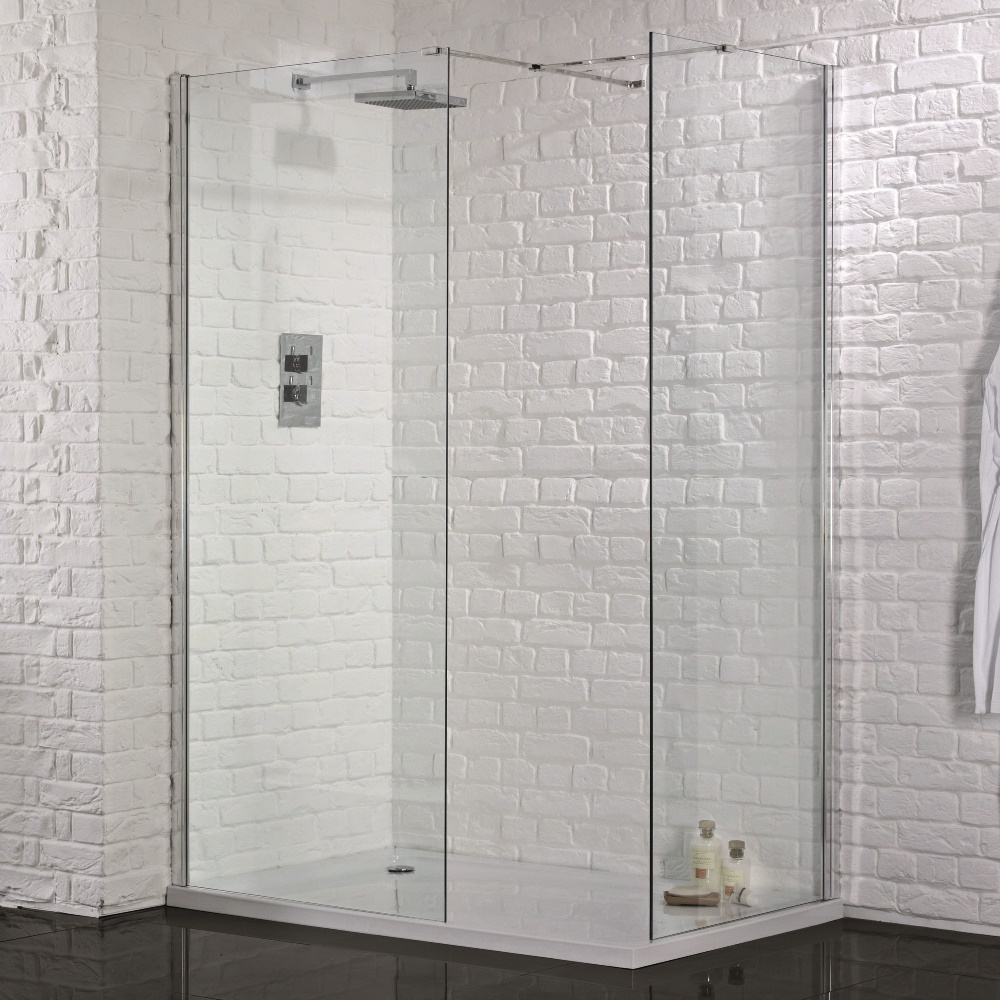 glass shower tray itm waste return room in walk screen ebay enclosure panel wet