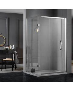 Aquadart Inline 1200mm x 800mm 2 Sided Sliding Shower Enclosure & Tray