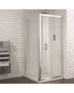 Aquadart Venturi 6 900mm x 900mm Frameless Bifold Door Shower Enclosure and Shower Tray (Includes Free Shower Tray Waste)