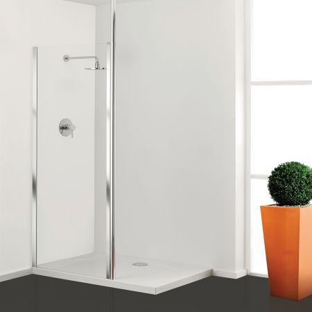 Coram Column Walk-in Front Panel - Clear Glass - Polished Silver - 800mm