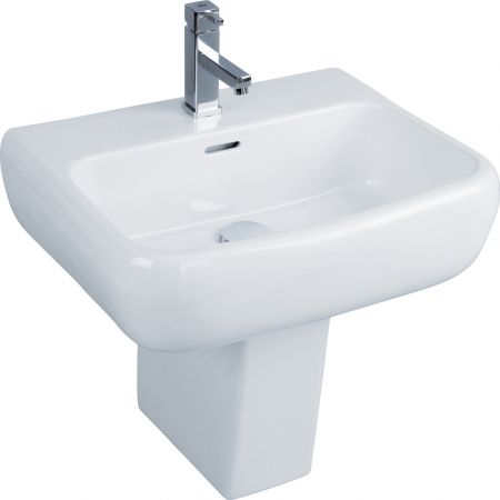 RAK Metropolitan 42cm Basin 2 Tap Hole And Semi Pedestal