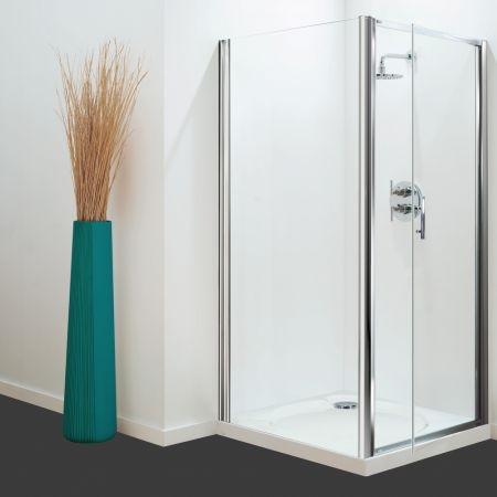Coram Optima Side Panel White - Clear Glass - 900mm