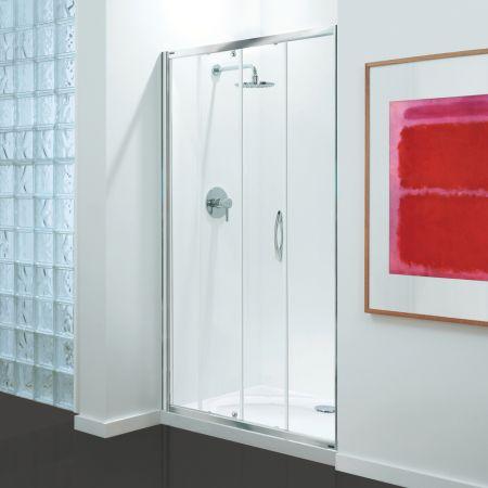 Coram Premier Sliding Door - Chrome - Clear Glass - 1400mm