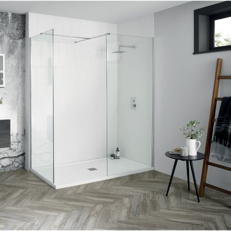 Aquadart 1700mm X 700mm Wetroom Shower Screens Shower Enclosure And Shower Tray (Includes Free Shower Tray Waste)