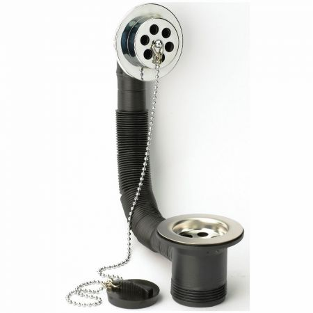 Bath Waste with Overflow with Black Plastic Plug & Chain